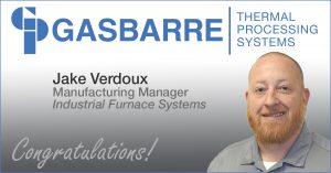 Gasbarre Employee Promotion - Jake Verdoux