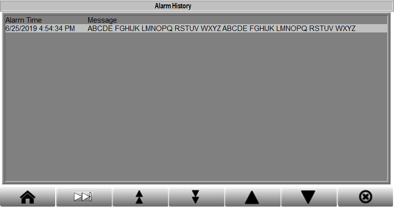 Presslog Lite - Alarm History Screen